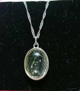 綠幽靈水晶墬子含8k金鏈