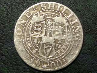 1900 UK Shilling Queen Victoria Silver Coin