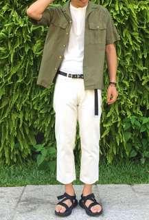 Beams 日本製 米白色寬褲 groovy orslow