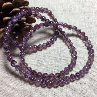 天然超七三輪骨幹紫髮晶招財三圈手鏈