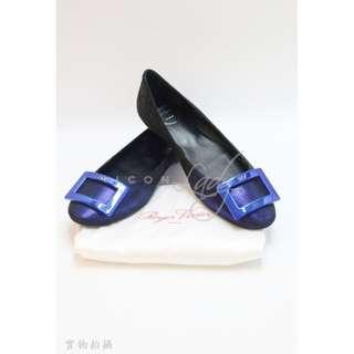 ROGER VIVIER 黑色麂皮配藍色閃粉 平底鞋