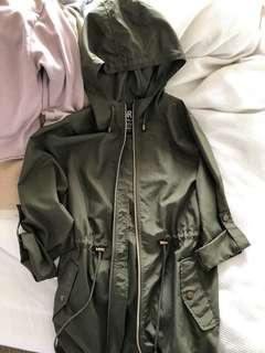 Khaki waterproof parka jacket