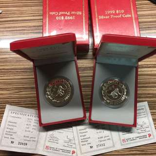 Singapore 1992 Monkey $10 silver proof coins (2 set)