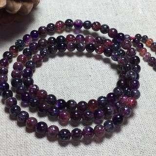 天然老礦黑超七三輪骨幹紫髮晶招財三圈手鍊