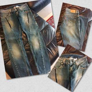 Levi's jeans with zip embellishments - waist size 28