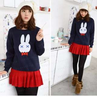 Dark Blue cute Bunny sweater