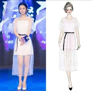 Zanila Zhao (赵丽颖) - Polka Dot Laced Dress