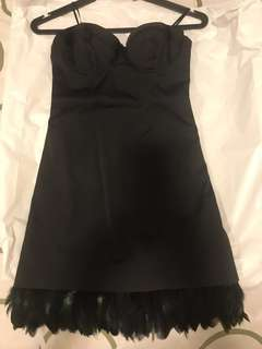 GUESS little black dress with feathers trimming (Stretch)