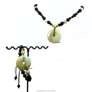 珍珠林~特價結緣品~僅此一件~A貨緬甸黃翡翠玉壁型避邪平安扣.羅漢眼項鍊#292