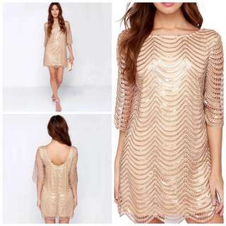 Sequin half sleeve mini satin gold dress