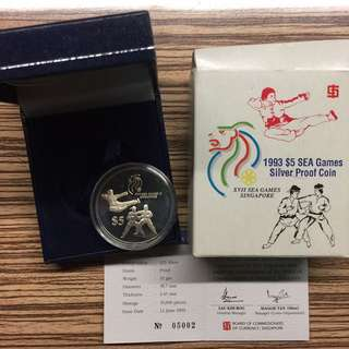 Singapore 1993 SEA games $5 silver proof coin