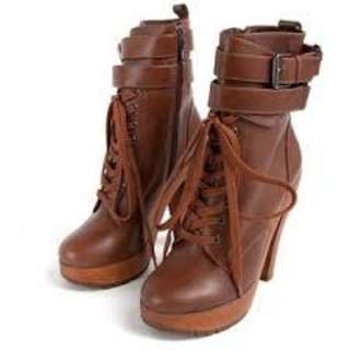 Jeffrey Campbell x Stylenanda Brown Lace Up Buckle Boots