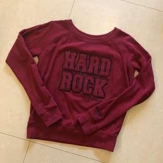 二手 Hard Rock 布拉格 Prague 酒紅 長袖圓領T恤  女生 M