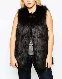 Plus size faux fur vest - 4xl