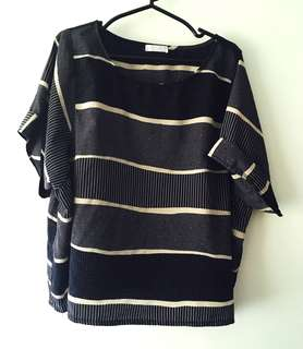 Charity Sale! Authentic Folded & Hung Striped White Flowy Loose Fit Women's T-shirt Size Large