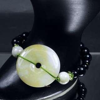 珍珠林~特價結緣品~僅此一件~A貨緬甸黃翡翠玉壁型避邪平安扣.羅漢眼手鍊#292
