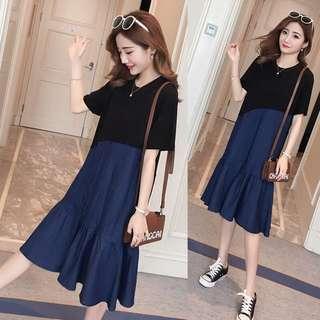 (M-4XL)large size women 2018 summer stitching denim fishtail dress