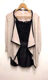 杏色黑邊氣質外套+黑色小花雪紡紗細肩帶+西裝料高腰短裙