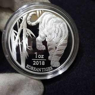 2018 South Korea 1 oz Silver Tiger