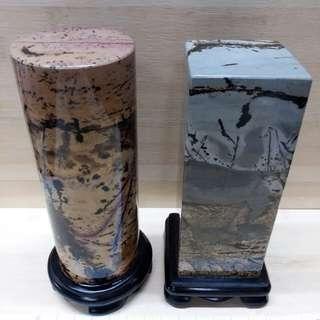 一對天然國畫石 六吋至六吋半, 連特製木座