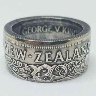Silver New Zealand Half Crown Coin Ring With Intricate Maori Design