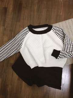 Checkers Cropped Knitted Pullover