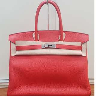 Hermes geranium togo birkin 35 phw p stamp Preloved excellent condition Full set without original receipt