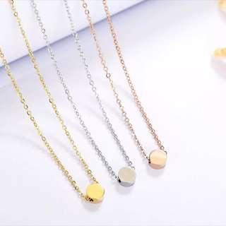 [In Stock] Circular Wishing Bean Rose Gold Colour / Silver Colour Titanium Steel Necklace