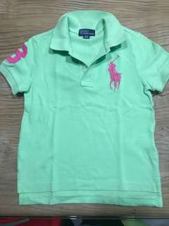 AUTHENTIC Polo Ralph Lauren Boy's Lime Polo short with Pink Pony