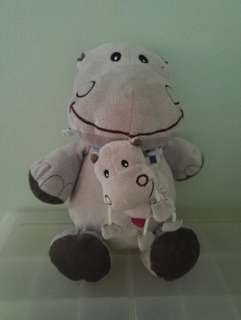 Soft toy mummy hippo carrying baby hippo