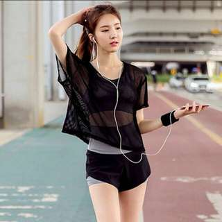 Mesh Sports Top in Black