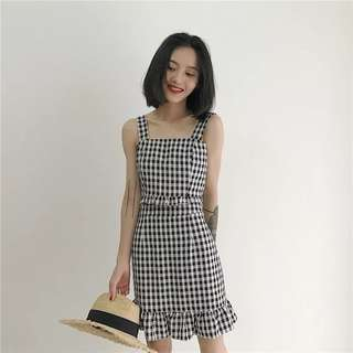 [PO] Checkered Strap Top and Skirt Set