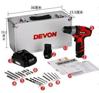 Devon(全新)12v鋰電批  兩鋰電池鋁工具箱