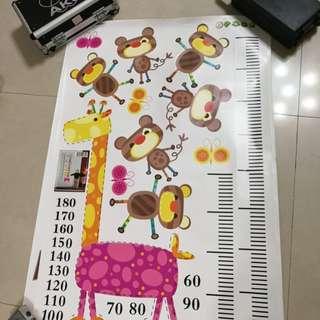 兒童測量身高貼(動物卡通圖案壁貼)