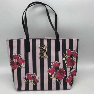 AUTHENTIC VS FLOWERY STRIPPY TOTE
