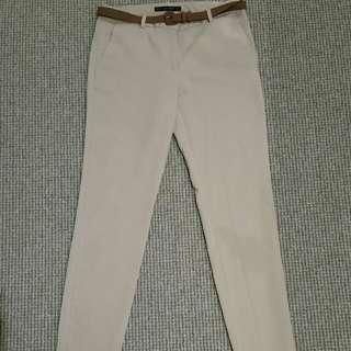 Zara basic camel skinny cigarette leg pant w belt side pockets 8