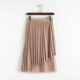 Europe and the United States high waist stitching pleated skirt