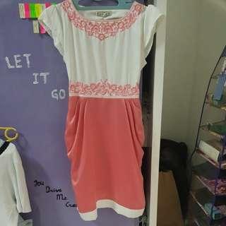 Pink & White velvet dress