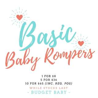 BASIC BABY ROMPERS (0-3 MTHS) INSTOCK 4 COLOURS AVAILABLE!