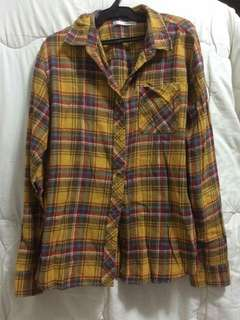 SOVES Yellow Flannel  shirt Plaid Longsleeve