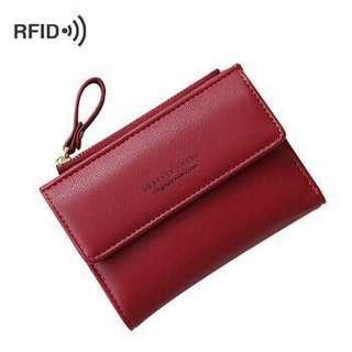 RFID Blocking Slim PU Leather Ladies Wallet with coin pocket