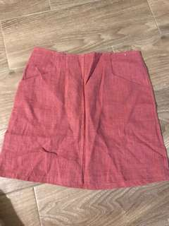 🚚 莓果色 後拉鍊 棉麻短裙