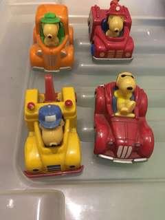 Snoopy 絕版 玩具車仔 一套4架