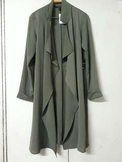 Forever 21 Olive Green Long Coat