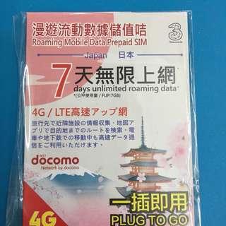 全新日本數據卡7日 $100,首7G行4G,之后無限3G下載。 電信商DOCOMO,發行商3.
