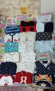 二手18件+2條褲仔3-9個月冬夏季嬰兒bb衣服 (送combi床鈴及五件嬰兒玩具)
