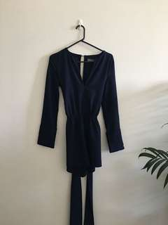 Navy Long Sleeve Playsuit