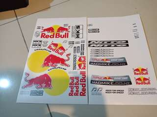 Rc drift decal stickers : Madmike Redbull decal for 1/10 drift car