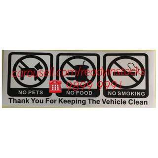 Toyota Hiace - Regiusace - Nissan NV200 - Nissan NV350 - Universal No Smoking No Food No Pets Sticker Decals / Nissan Accessories