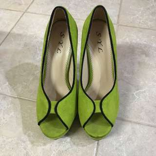 Lime green suede heels